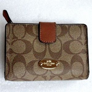 COACH Monogram Zip Around Wallet Organizer Bifold